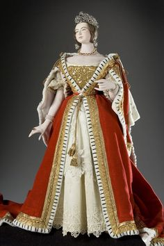 Queen Victoria 1837 (v1) , shown here in her coronation robes, was unsophisticated and unprepared to rule, but presided with dignity. Her marriage to Albert led to his indirect participation in most major decisions of state. Restorers' Comment: There was a massive reconstruction of the robes, including re-cutting and reworking with new lace trim.