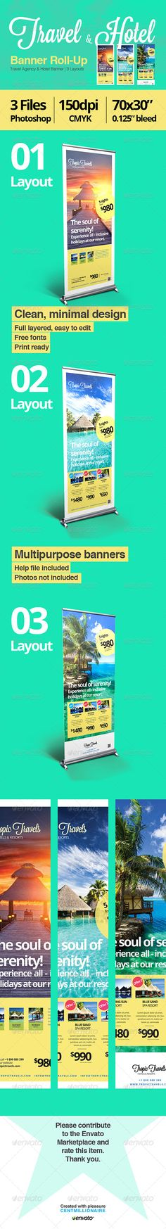Travel & Hotel Banner RollUp — Photoshop PSD #spa #design • Available here → https://graphicriver.net/item/travel-hotel-banner-rollup/7142956?ref=pxcr