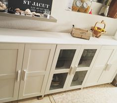 Ikea brimnes cabinets as a console or buffet, add wood top