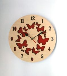Large Wall Clock, Mother's day gift, butterfly clock, Wooden Wall Clock, red clock with butterfly