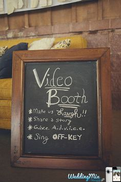 A video booth - sweet sign idea! This  cute wedding sign is perfect to use with the @WeddingMix app to get a fun, free wedding video made from guests' photos and videos.