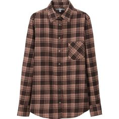 UNIQLO Women Flannel Check Long Sleeve Shirt ($30) ❤ liked on Polyvore featuring tops, long sleeve shirts, longsleeve shirts, layering shirts, checkered flannel shirts and checked shirt