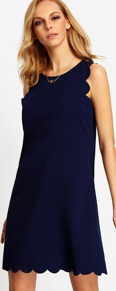 Royal Blue Sleeveless Scallop Shift Dress