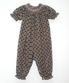 Loving this Brown Quatrefoil Smocked Playsuit - Infant on #zulily! #zulilyfinds