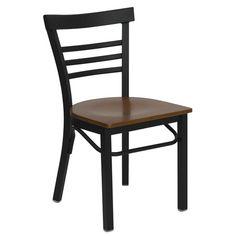 Flash Furniture Hercules Series Black Ladder Back Metal Restaurant Chair with Cherry Wood Seat XU-DG6Q6B1LAD-CHYW-GG