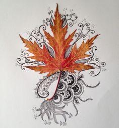 «30ème jour.  Feuille et Zentangle. ☀️ #flowleaf2015 #flowmagazine_fr #zenart #zentangle #automne2015 #dessindujour #dominiqueblanccreation #aliaslysadomi»