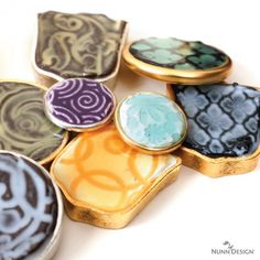 Explore the technique of creating faux enamel jewelry by texturizing epoxy clay and then colorizing it with 2 part resin and colorants! Fun!