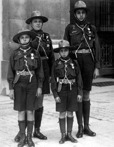 Royal Brothers→ Alfonso (Prince of Asturias), Jaime, Juan and Gonzalo, the four sons of King Alfonso XIII and Queen Ena, in Boy Scouts uniforms in 1922.