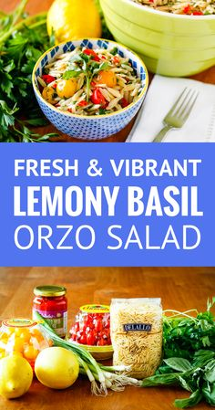 Lemony Basil Orzo Salad -- this healthy orzo pasta salad recipe is FULL of bright, fresh, summery flavor... Gorgeous red and yellow cherry tomatoes, bright parsley, and vibrant basil, along with a dose of fresh lemon zest and juice marry together to make the perfect side dish to share at your next gathering! | orzo salad with feta | cold orzo salad | easy orzo salad #pastasalad #orzo #healthyrecipes #easyrecipes #orzosalad #orzorecipe #pastasaladrecipes #summersalad #saladrecipeseasy… Orzo Salad Recipes, Healthy Salad Recipes, Lemon Orzo Salad, Vegetarian Recipes, Salads For A Crowd, Cold Pasta, Summer Salads, Summer Dishes, Summer Food