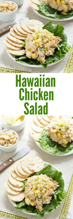 Hawaiian Chicken Salad with pineapple, macadamia nuts, and fresh herbs. A lighter version of a classic salad with hawaiian flavors! Made with greek yogurt. Hawaiian Chicken Salad, Chicken Salad With Pineapple, Hawaiian Salad, Pineapple Salad, Pineapple Recipes, Salad Chicken, Healthy Snacks, Healthy Eating, Healthy Recipes