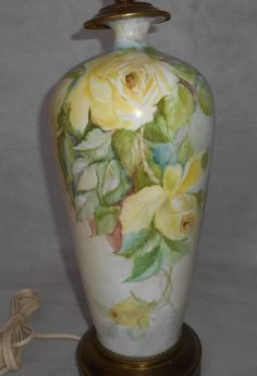 Hand painted American Belleek Porcelain Table Lamp w Yellow Roses American Belleek, Lamp, Yellow Roses, Hand Painted, Ceramics, Decorative Jars, Vintage Table Lamp, Porcelain, Vintage