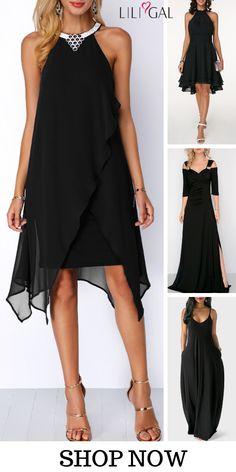 black dresses chiffon dress party dress elegant dress classy dress spring s Women's Fashion Dresses, Sexy Dresses, Dress Outfits, Casual Dresses, Summer Dresses, Fashion Clothes, Pretty Dresses, Dress Robes, Pink Dresses