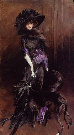 'La Marchesa Luisa Casati with Greyhound' - 1908 - Portrait by Giovanni Boldini (Italian, 1842-1931) - Private collection of Andrew Lloyd Webber - @~ Mlle