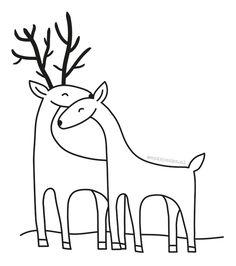 Deers in love illustration by http://ankepanke.nl