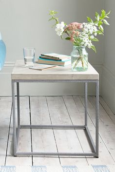Reclaimed parquet wood and legs with a dusted cannonball finish. Part industrial. An all-round lovely side table. Wooden Bedside Table, Wooden Tables, Wooden Furniture, Wood Parquet, Metal Table Legs, Cool Coffee Tables, Industrial Table, Design Interiors, Interior Design