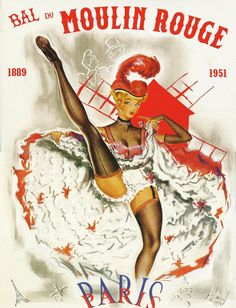 Moulin Rouge French Cancan | Antique French advertising print - MOULIN ROUGE Paris French Cancan ...