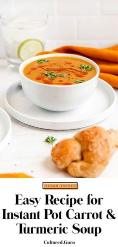 This Vegan, Instant Pot Roasted Carrot and Turmeric Soup is made with freshly roasted carrots, squash, onions, turmeric, and vegetable broth for a quick and easy soup you'll love. This recipe is perfect for an appetizer, or a sandwich side and comes together in about 1 hour and 30 minutes. #soup #carrot #turmeric #anitinflammatory #guthealth Easy Soup Recipes, Beef Recipes, Dinner Recipes, Healthy Recipes, Lunch Recipes, Healthy Food, Turmeric Soup, Sandwich Sides, Quick And Easy Soup