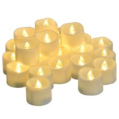 LED Tea Lights [24 pcs - Battery Operated Uneven Edge] Warm White Flickering Flameless Tealight Dia. 1.4'x1.6' Height, Votive Candles, Centerpieces, Wedding Decor (Warm White, Set of 24) >>> Special offer just for you. : Candles Holders Decor
