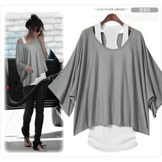 2015 New Brand European Fashion T-Shirt Women Ladies Batwing Sleeve Tops Tank + T shirt Two Pieces Set 3 Color S-XXL(China (Mainland))