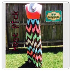 """HP NWOT Filly Flair Chevron Maxi Dress Small Host Pick -Best in Dresses & Skirts 1-9-16 Chosen by @efacha & @charming_mhel ❤️ Weekend Warrior Party 8-8-15 @mk4 ❤️ Pretty, Flirty & Girly Party 9-22-15 @bellanblue ❤️ NWOT Filly Flair Chevron Coral Maxi Dress Size Small. Ordered Online, no price tag. Measurements laying Flat: Bust: 15"""", Length: 59"""". Material: 95% Polyester, 5% Spandex. Hand Wash Cold. Material has some stretch. Best fits a size 0-4. Mannequin is a 36-24-36 to give you an idea…"""