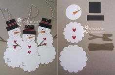 Creative Ideas - DIY Cute Paper Snowman Gift Tag #DIY #craft #Christmas