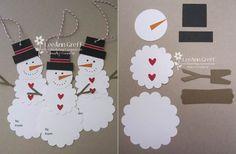 Creative Ideas - DIY Cute Paper Snowman Gift Tag #DIY #craft #Christmas