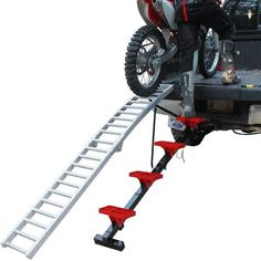 This motorcycle loading ramp kit includes the RevArc MX ramp and the RevArc Smart Steps to load dirt bikes easily and safely. Truck Ramps, Rv Truck, Trucks, Motorcycle Loading Ramp, Truck Bed Box, Trailers, Motorcycle Carrier, Truck Camper Shells, Loading Ramps