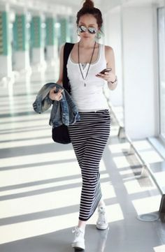 Stylish Stripes Drawstring Waist Maxi Skirt on BuyTrends.com, only price $8.25