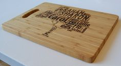 Personalised Large Solid Wooden Chopping Board - Engraved Word Art - Personalised Family Tree Design - Cutting Board - Made to Order