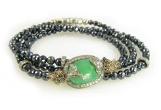 triple wrap bracelet, also can be worn as a necklace-- fiery pave encrusted chrysoprase with triple pave rondelles and... bonus! magnetic closure makes it SO easy to wrap on your wrist! nanfusco.com