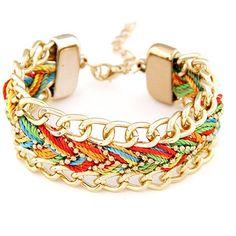 2015 Fashion Metal Gold Chain Bracelet Femme for Women Cotton Rope Wrap Bracelets & Bangles Bijoux pulseras mujer Cheap Fashion Jewelry, Cheap Jewelry, Fashion Bracelets, Fashion Accessories, Women Jewelry, Custom Jewelry, Jewelry Ideas, Cheap Bracelets, Braided Bracelets