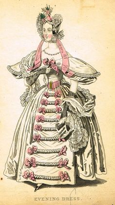 """Lady's Cabinet Fashion Plate - """"EVENING DRESS (PINK)"""" - Hand-Colored Engraving - 1840"""