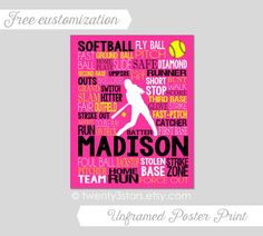 Softball Typography Art Print, Perfect for Girl's Room Art, You Choose the Colors, Makes a Great Gift for any Softball Player Yes.