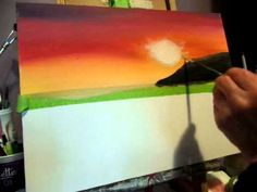 How to paint an ocean and  sunset with acrylic paint lesson 2