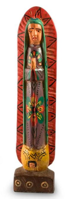 Fair Trade Central American Religious Wood Sculpture - Beloved Lady of Guadalupe | NOVICA