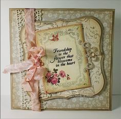 Sweet & Delicate...card with inked papers, pink ribbon & lace, embellishments.