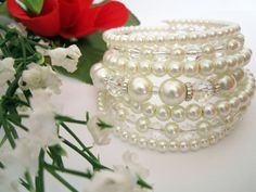 Wedding Jewelry - Pearl and Crystal Bridal Bracelet in White/Ivory Statement Bridal Cuff Bracelet, Bridal Jewellery on Etsy, $29.00