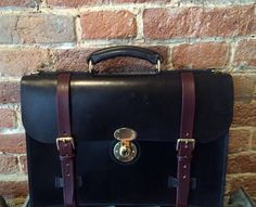 Classic English Leather Briefcase accordion gusset