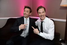 The time he posed for this picture next to Robert Downey Jr and SHERLOCK-CEPTION happened. | 39 Times Benedict Cumberbatch Completely Broke The Internet