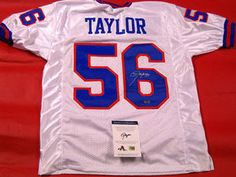 LAWRENCE TAYLOR AUTOGRAPHED NEW YORK GIANTS WHITE JERSEY LT 3574b93ee