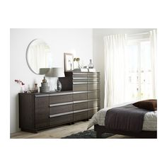OPPLAND 4-drawer chest - brown stained ash veneer - IKEA || I love the combination of units to make a stair-step look