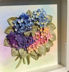 Картина панно рисунок Квиллинг Гортензия Бумажные полосы фото 9