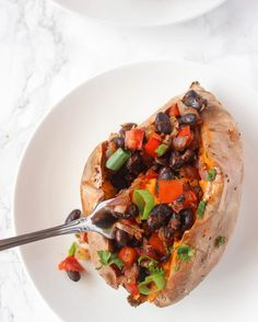 Easy Mexican Stuffed Sweet Potatoes- perfect meal cooking for one or two!