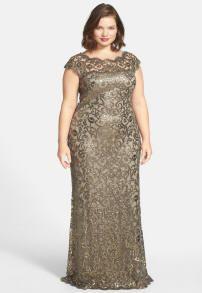 Tadashi Shoji, Sequin Lace Gown, Sizes 14-24W | ElegantPlus.com Editor's Pick