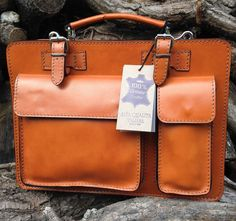 Hand Made Italian Leather Tan Briefcase Laptop by SerguioRogetti