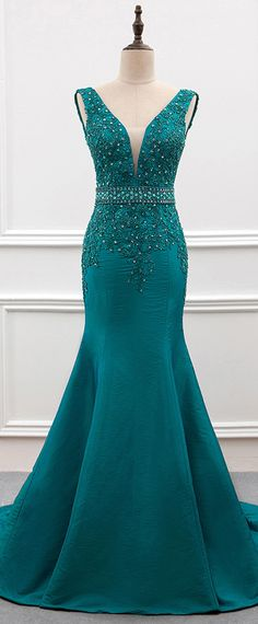 Delicate Taffeta V-neck Neckline Mermaid Evening Dress With Beaded Lace Appliques
