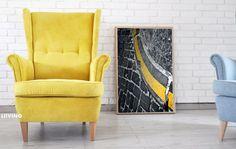 Żółty fotel uszak w sztruksie wspaniały kolorek żółty z nóżkami prostymi bukowymi