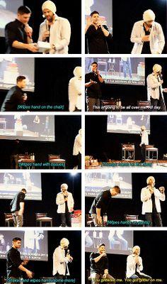 [gifset] Jensen and his hatred of glitter <3 #JibCon14 #Jensen #Jared