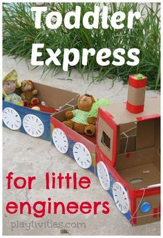 Train Craft for Real Adventures - Cardboard Box , Train Craft for Real Adventures Cardboard Box Train craft and activities with it Crafts. Cardboard Train, Cardboard Box Crafts, Cardboard Box Ideas For Kids, Cardboard Castle, Train Activities, Preschool Activities, Cool Diy, Train Crafts, Boxing Training