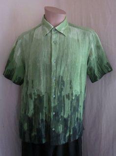 Jhane Barnes Men's Green Textured Fabric Abstract Art Paint Wild Shirt L Large #JhaneBarnes #ButtonFront